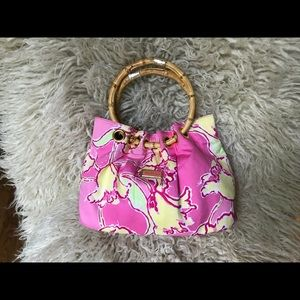 Lilly Pulitzer Bamboo-Handled Purse w/ Gold Trim.